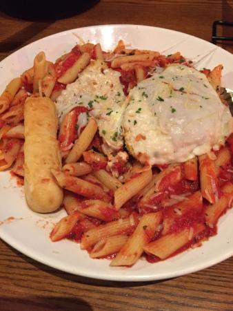 Haverhill, MA: Chicken parm and pasta with Panko crumbs