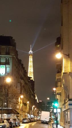 Eiffel Saint Charles: View of Eiffel Tower from front of Hotel - Night time