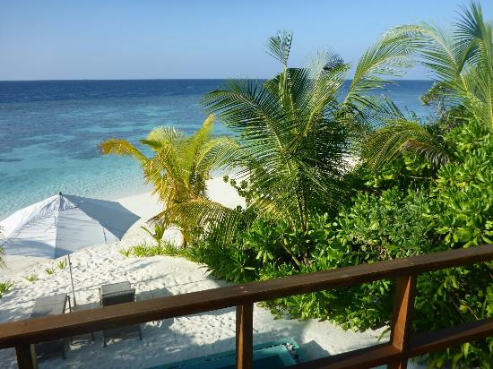 North Ari Atoll: view from balcony duplex beach pool villa