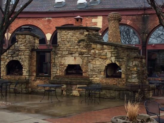 Aurora, IL: Train Shaped fireplace at Two Brothers
