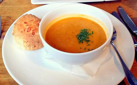 Port of Menteith, UK: Cream of root vegetable soup with cheese scone