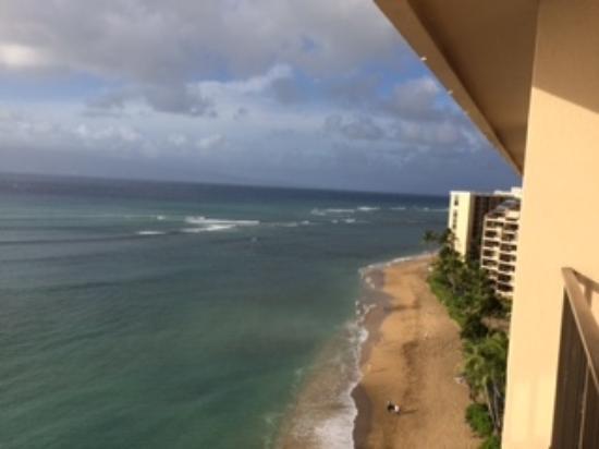 Kahana Beach Resort: View to the north from lanai.