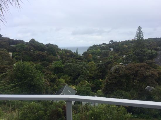 Waiheke Island Resort: view of beach from room patio