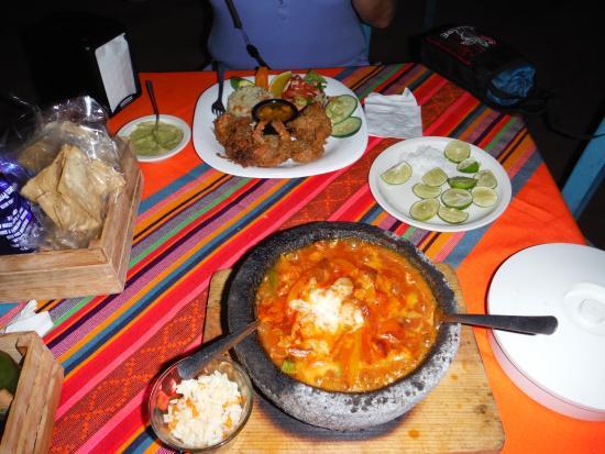 El Manglito: Coconut Shrimp and Vegetarian Molcajete