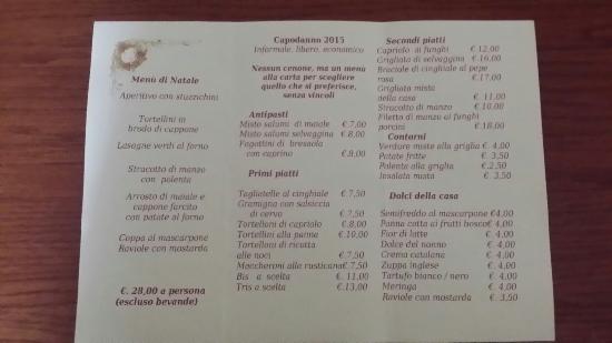 Castello D'Argile, Italia: Menù pranzo di Natale e menù alla carta per capodanno 2015