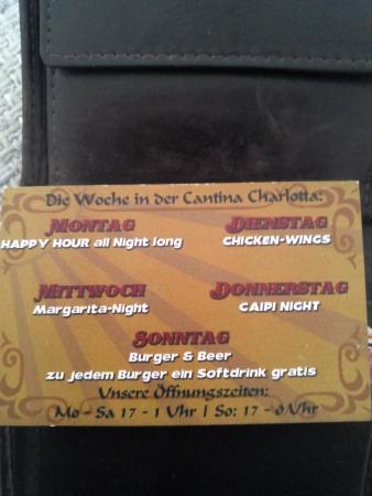 Cantina Charlotta: меню