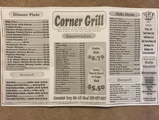 Corner Grill at Boone's Corner: Lunch-Dinner Menu