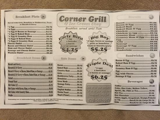 Corner Grill at Boone's Corner: Breakfast Menu