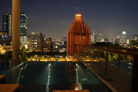 Night view from pool picture of parkroyal on pickering singapore tripadvisor for Park royal pickering swimming pool