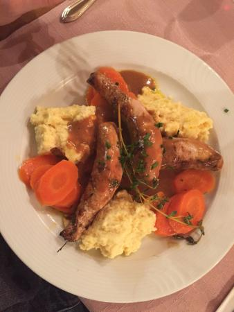"helvetia: Old tasting rabbit dish with pollenta and ""vegetables"""