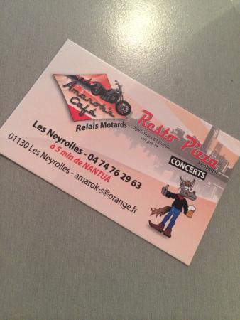Ain, Francja: Carte de visite du restaurant!