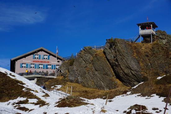 Кляйне-Шайдегг, Швейцария: Hotel Grindelwaldblick von der Bahnstation aus.