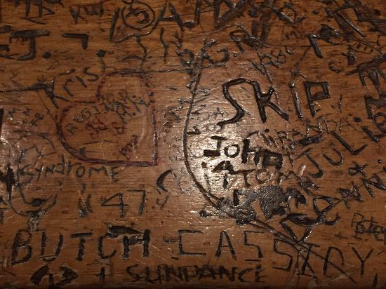 Dunton Hot Springs: Supposedly some graffiti from Butch Cassidy & Sundance on the bar