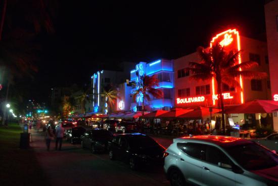 Miami Beach Boardwalk Art Deco Buildings At Night