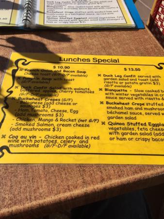Coolum Beach, Australia: specials menu