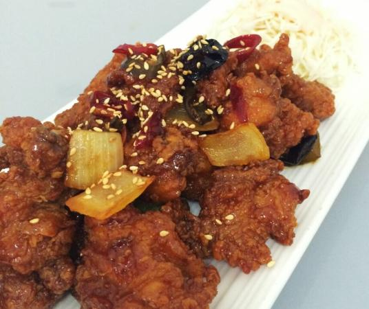 SUT and Wine: Sweet and spicy , sweet and sour chicken