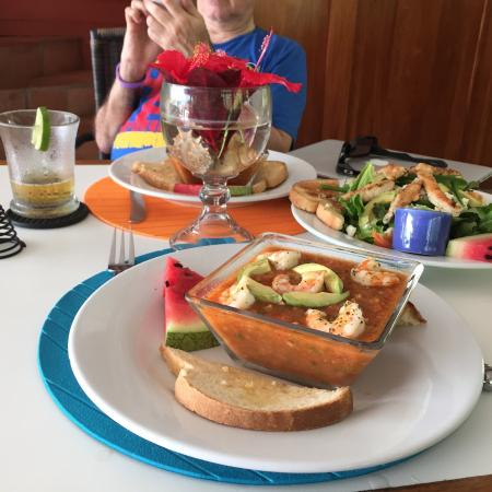 Barefoot Cay: Shrimp Gazpacho!