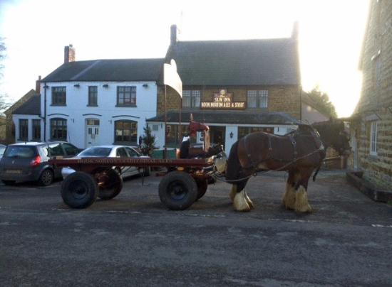 Hook Norton, UK: Dray Horses Delivery Outside The Sun Inn