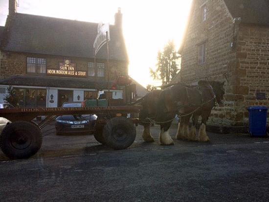 Hook Norton, UK: Dray Horses Delivery Outside The Sun Inn