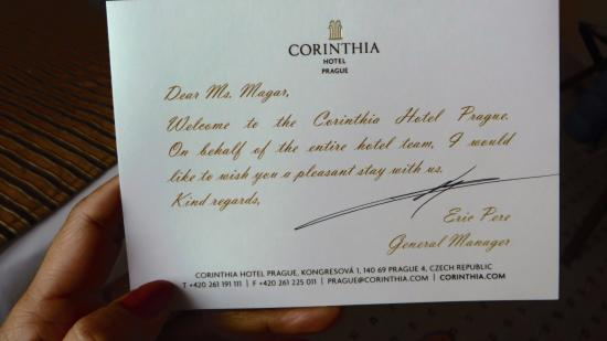 Welcome letter picture of corinthia hotel prague prague corinthia hotel prague welcome letter spiritdancerdesigns Choice Image