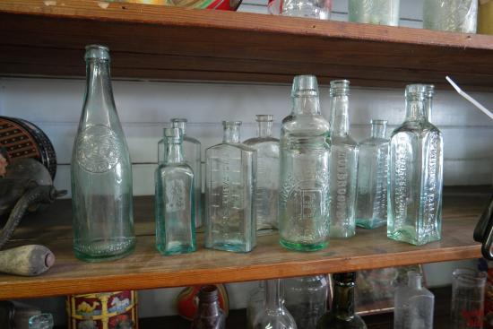 Clarkrange, TN: Some of the antique bottles inside the store