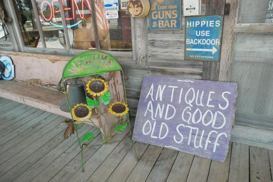 Clarkrange, TN: Sign on the front porch of the general store