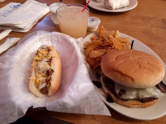 Decatur, IN: River View's Mushroom & Swiss Burger with a Coney Dog side