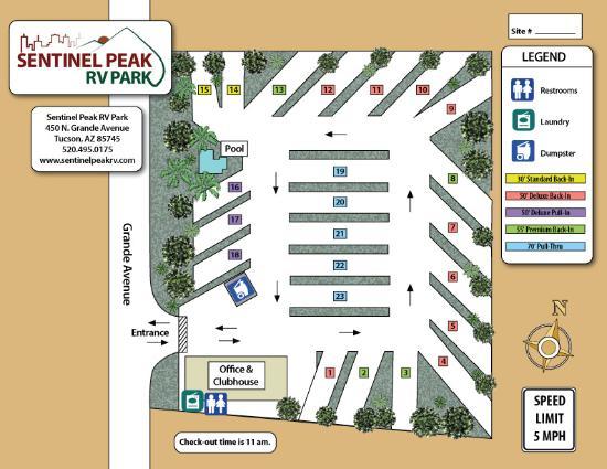Map Of Arizona Rv Parks.Park Map Picture Of Sentinel Peak Rv Park Tucson Tripadvisor