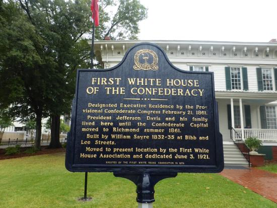 First White House of the Confederacy: Plaque