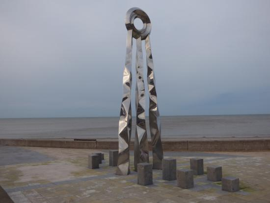 Offa's Path sculpture on central beach