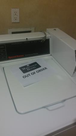 Commerce, TX: only washer out of order -- no other accomodations available at 8p