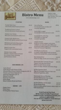 Eskdale Lodge Hotel: Bistro menu