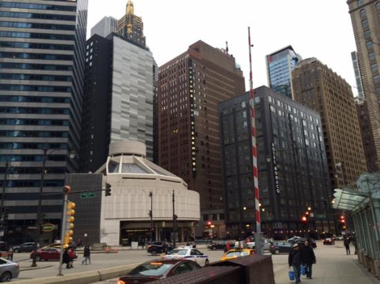 Hotel on far right in black building picture of kimpton for Hotel right now in chicago