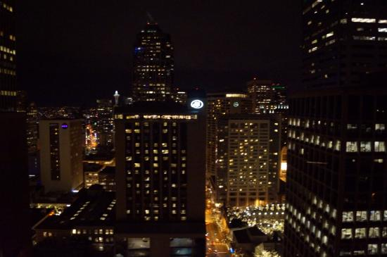 Crowne Plaza Seattle Downtown Area Night View From North Side Hotel Room