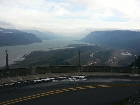 Hood River, OR: View from Vista House on a blustery December day