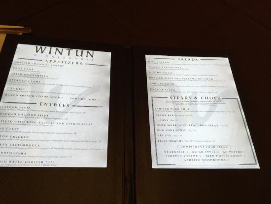 Colusa, CA: Wintun Steakhouse Menu