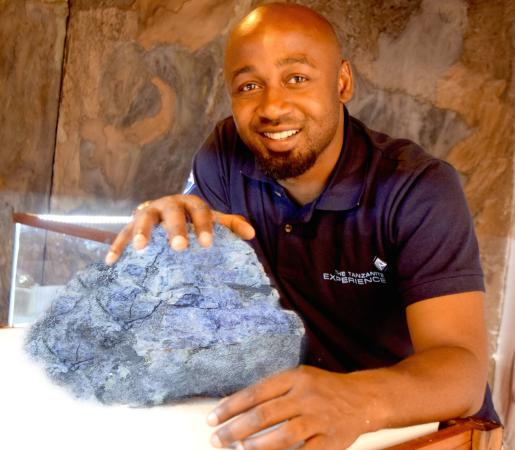 A exceptionally large crystal specimen at The Tanzanite Experience