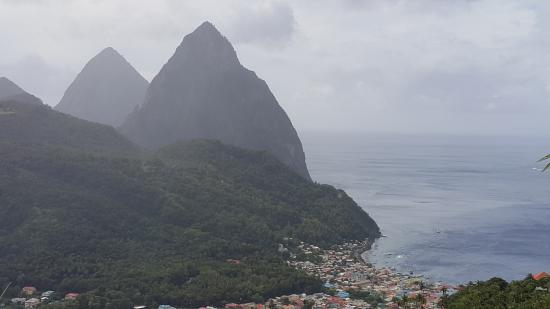 Blue Skies Apartments: Soufriere with the Pitons in the distance