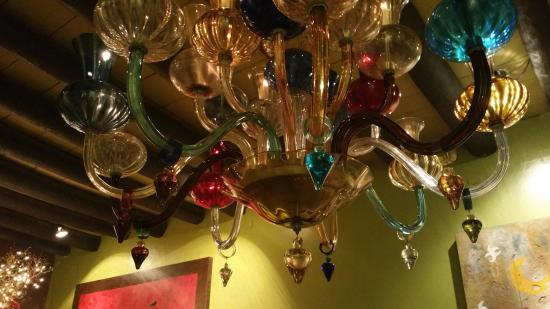 Hotel California: Eclectic glass lighting fixture.
