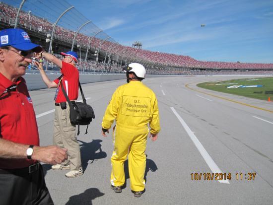 Talladega, AL: Crossing the race track to walk on Pit Road