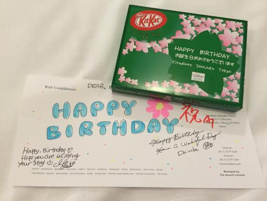 Citadines Shinjuku Tokyo: Thoughtful Birthday Message