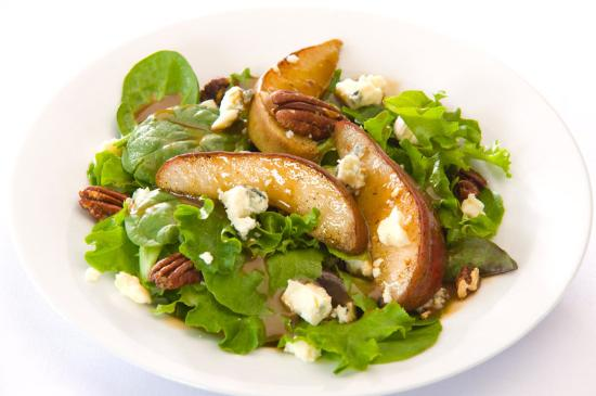 Alta Lodge: Tossed Mixed Greens with Candied Pecans, Red Pears, Gorgonzola Maple Balsamic Vinaigrette