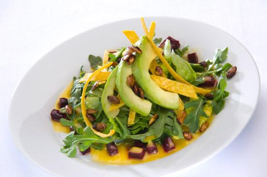 Alta Lodge: Mixed Greens with baby arugula, roasted beets, spiced pepitas & orange chipotle vinaigrette