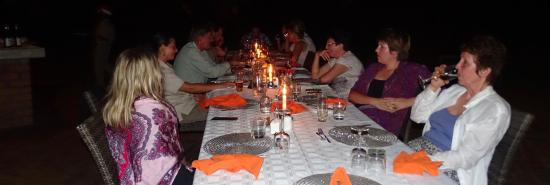 Imbabala Zambezi Safari Lodge: Christmas eve dinner with our new friends.