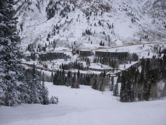 The Inn at Snowbird: The Inn is the small bldg in the middle
