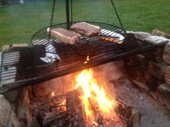 Andover, ME: Steak on the open firepit