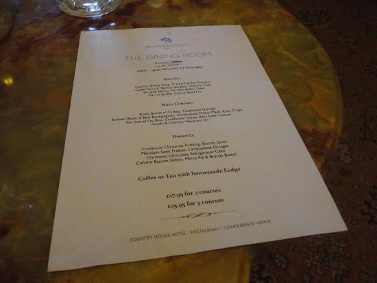 The Dining Room at Washingborough Hall Country Hotel : menu