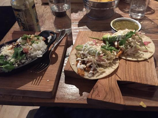 Salt & Lime: Chicken tacos and side of rice and beans