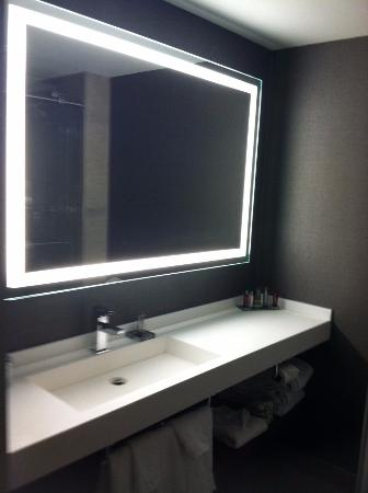Bathroom Mirrors Richmond Va wall to wall bathroom mirror framed with light - picture of