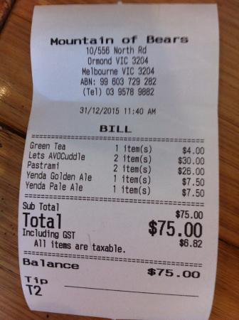 Ormond, Australia: the bill
